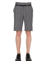 John Richmond Retro Cotton Jacquard Shorts