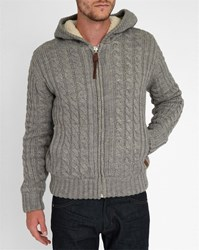 Schott Nyc Marled Grey Fur Lined Sherpa Hood Cable Knit Cardigan