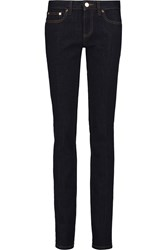 Tory Burch Low Rise Slim Leg Jeans Blue