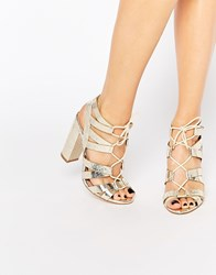 Lipsy Cleo Gold Metallic Ghillie Tie Up Sandals Gold
