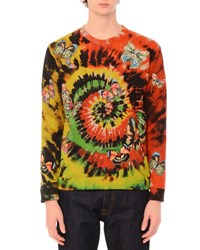 Valentino Butterfly Embroidered Long Sleeve Tie Dye T Shirt Green Multi Multi Colors