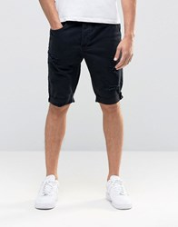 Religion Session Denim Turn Up Shorts Black