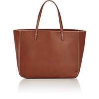 Barneys New York Women's Contrast Topstitched Tote Brown
