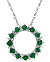 Macy's Emerald 9 10 Ct. T.W. And White Topaz 1 9 10 Ct. T.W. Circle Pendant Necklace In Sterling Silver
