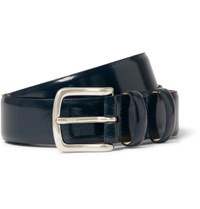 A.P.C. 3Cm Blue Jeremy Polished Leather Belt Midnight Blue