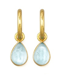 Light Aqua Intaglio Teardrop Earring Pendants Elizabeth Locke