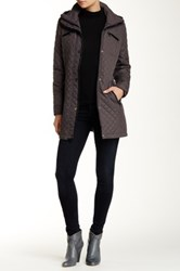Steve Madden Quilted Faux Leather Trim Jacket Gray