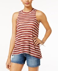 Almost Famous Juniors' Striped Mock Neck Tank Top Burnt Orange