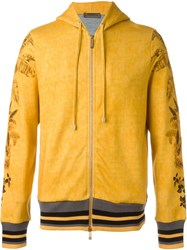 Etro Floral Print Zip Hoodie Yellow And Orange