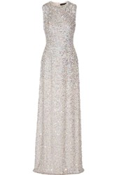 Jenny Packham Embellished Silk Gown Light Gray