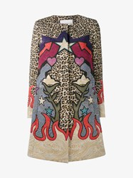 Mary Katrantzou Jacquard Leopard Print Coat Multi Coloured Leopard Brown Beige Flame