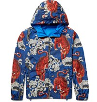 Gucci Printed Shell Hooded Jacket Blue