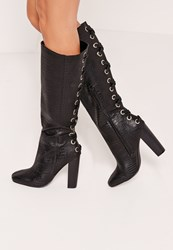 Missguided Croc Lace Up Knee High Boots Black
