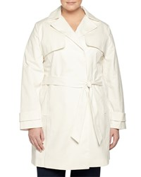 Laundry By Design Plus Belted Lace Back Trenchcoat Spring White