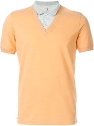 Brunello Cucinelli Contrast Collar Polo Shirt Yellow And Orange