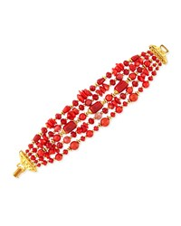 24K Gold Multi Strand Coral Bracelet Jose And Maria Barrera
