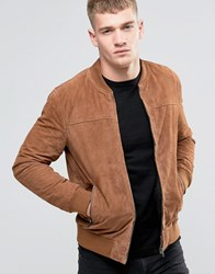 Jack And Jones Suede Bomber Jacket Tan