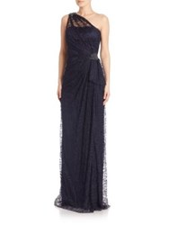 David Meister One Shoulder Lace Cocktail Dress Navy