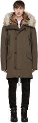 Yves Salomon Green Fur Lined Parka