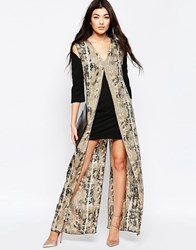 Liquorish Shift Dress With Printed Maxi Overlay In Snake Block Print Black