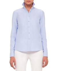 Akris Punto Button Front Embroidered Back Blouse Sky Blue