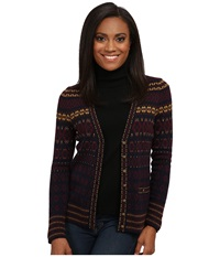 Pendleton Petite All American Cardigan Midnight Navy Multi Women's Sweater Brown