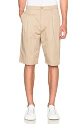 Helmut Lang Washed Sateen Pleated Shorts In Neutrals
