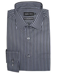 Double Two Stripe Formal Shirt Grey