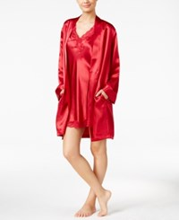 Thalia Sodi Satin Short Wrap Robe New Royal Red