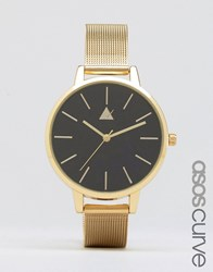 Asos Curve Large Matte Black Face Watch With Skinny Mesh Strap Gold