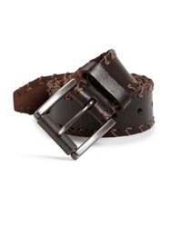 Leather Island Cross Stitched Trim Leather Belt Dark Brown