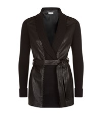 Escada Sport Leather Panel Cable Cardigan Female Black