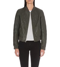 Paige Zoey Leather Bomber Jacket Army