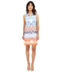 Christin Michaels Beaded Neck Tribal Dress Blue Multi Women's Dress