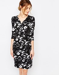 Yumi Uttam Boutique Floral Print 3 4 Sleeve Pencil Dress Black