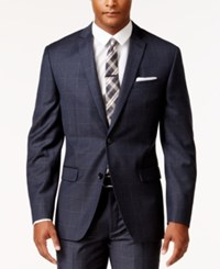 Bar Iii Men's Slim Fit Navy And Tan Windowpane Jacket Only At Macy's