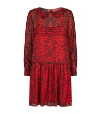 Boutique Moschino Heart Snake Print Silk Dress Female Red