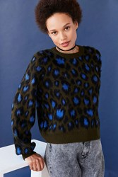 Ecote Brushed Leopard Crew Neck Sweater Green Multi