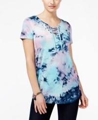 Say What Juniors' Lace Up Tie Dyed Printed Tunic Top Cotton Candy Combo