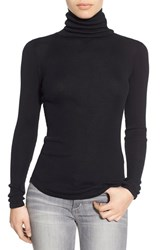 Joe's Jeans Women's Joe's 'Gayle' Ribbed Silk Turtleneck Black