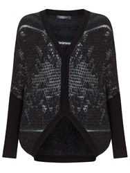 Crea Concept Textured Cardigan Black Grey