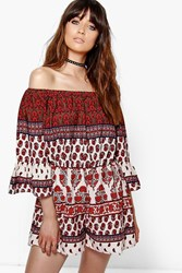 Boohoo Off The Shoulder Boho Print Playsuit Multi