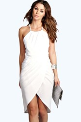 Boohoo Crepe Wrap Over Skirt Midi Dress Ivory