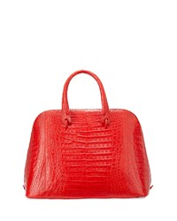 Dome Large Crocodile Satchel Bag Red Matte Nancy Gonzalez