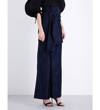 Rosie Assoulin Wide Leg Floral Jacquard Trousers Navy