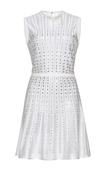 Zuhair Murad Short Pleated Crystal Embroidered Knit Dress White
