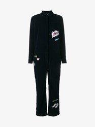 Mira Mikati Embroidered Applique Cotton Jumpsuit Navy Multi Coloured Black Yellow