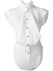 Vivienne Westwood Red Label Draped Bib Cap Sleeve Shirt White