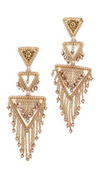 Miguel Ases Triangle Statement Chandelier Earrings Gold