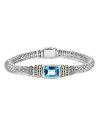 Lagos 18K Yellow Gold And Sterling Silver Caviar Color Bracelet With Swiss Blue Topaz Blue Silver